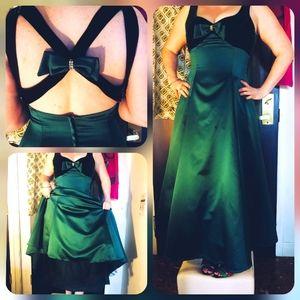 Vintage Algo emerald green satin gown